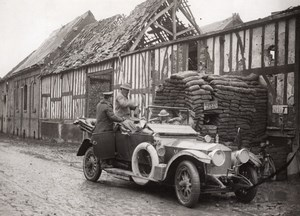 WWI Western Front British Staff Car in Strafed Village Old Photo 1914-1918