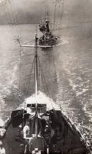 WWI Cuirasses Britanniques dans une Tempete de Neige Ancienne Photo 1914-1918
