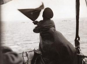 WWI Mer du Nord Marine Britannique Vigie Hune Ancienne Photo 1914-1918