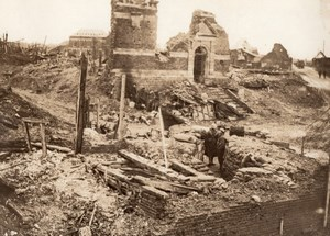 France WWI Western Front Village in Ruins Old Photo 1914-1918