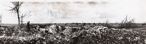 France WWI Front de l'Ouest Route Minee Scene de Desolation Ancienne Photo 1914-1918