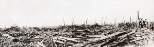 France WWI British Western Front German Retreat Ruined Road Old Photo 1914-1918