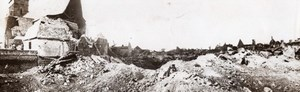 France WWI British Western Front Village Ruins Mine Crater Old Photo 1914-1918