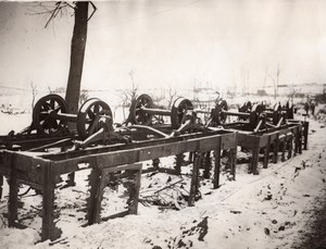 France WWI British Western Front Wrecked Railway Trucks Old Photo 1914-1918