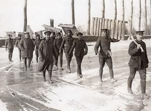 France WWI Front de l'Ouest Caillebotis Canal Gele Ancienne Photo 1914-1918