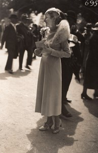 France Elegant Woman French Fashion at Horse Racing Old Moisson Photo 1920's