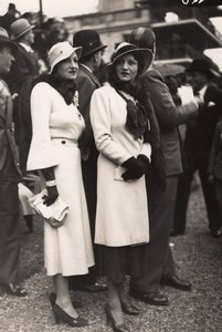 France Elegant Women French Fashion at Horse Racing Old Moisson Photo 1920's