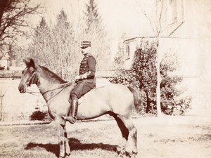 France? Thoroughbred? Horse Military Rider Equitation Old Photo 1900