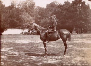 France? Thoroughbred Horse Impulsive Military Rider Equitation Old Photo 1900