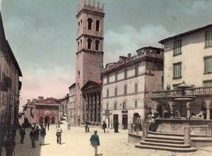 Italy Assisi Piazza Temple of Minerva Fountain Old Alinari Color Photo 1900