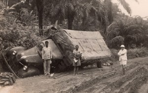 Cameroon Yaounde? Truck in Ditch Muddy Road French Colony Old Photo 1948