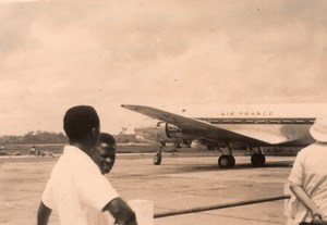 Cameroon Douala Airport Air France DC4 Airplane French Colony Old Photo 1951