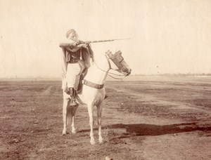 Maghreb ? Arab Horse Rider Rifle White Horse Old Photo 1880