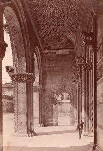 Italy Tuscany Lucca Cathedral Portico Old Photo 1890