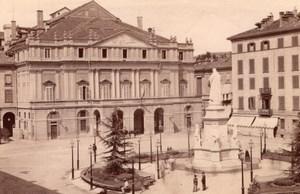 Italy Milano Piazza del Teatro Theatre Leonardo Da Vinci Statue Old Photo 1890