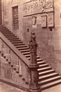 Italy Florence Firenze Palazzo del Podesta Bargello Stairs Old Photo 1890
