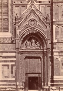 Italy Florence Firenze Cathedral Door South Façade Old Photo 1890