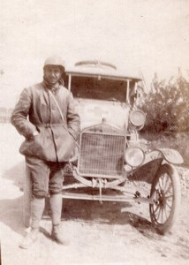 France Courmas Man & his Ford Automobile Old amateur Snapshot Photo 1910's
