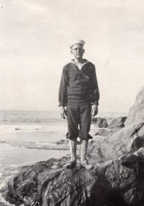 USA Californie San Francisco Marin Nouvelle Recrue sur Rocher Ancienne Photo Amateur 1920