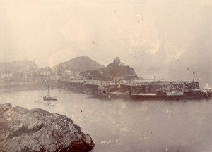 North Devon Ilfracombe Seaside Town Jetty Boat Old amateur Photo 1900