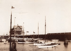 Suffolk Lowestoft Boats in Harbour English Seaside Town Old amateur Photo 1900