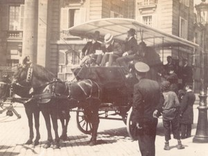 France Paris Horse Drawn Carriage Public Transport Old amateur Photo 1900