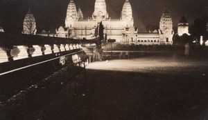 Paris Colonial Exposition Angkor Wat Temple by Night Old Amateur Photo 1931