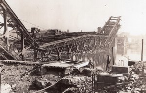 WWII US Navy Pont Bailey Bridge Wreck Europe? Old Amateur Photo 1945