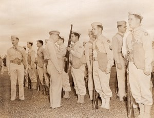 WWII American Troops Review Infantry Rifle Old Photo 1943