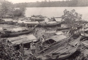 Moro Village near Zamboanga Vinta boats Old Amateur Photo 1945