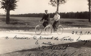 Aviation Stiploscheck & Wife Autograph to Arnaud de Pontac Old RPPC Photo 1911