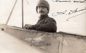 Aviation Pilot Arnal Autograph to Arnaud de Pontac Old Modern' Photo RPPC 1911