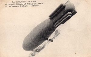 France Aviation Surcouf Military Dirigible Ville de Paris Old Postcard 1906