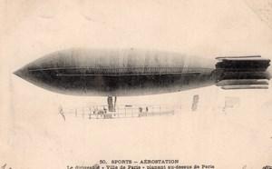 France Aviation Surcouf Military Dirigible Ville de Paris Old Postcard 1906