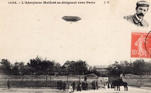 France Aviation Mixed Dirigible Malecot Old Postcard 1907