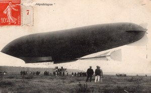 France Aviation Lebaudy Frères Military Dirigible Republique Old Postcard 1908