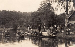 Germany? Men Groups in Boats Old Real Photo Postcard 1920