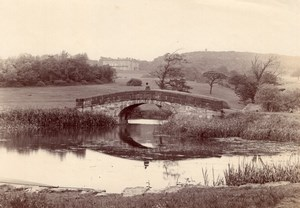 British Countryside Stone Bridge Pond & Stately Home Old Photo 1900