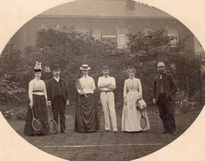 Tennis Players Group British Countryside Castle? Old Photo 1900