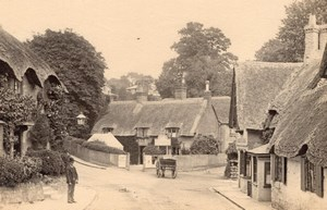 England Isle of Wight Shanklin Thatched Houses Village Old Photo 1900