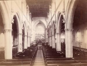 Unidentified British Church Interior Old Photo albumen print 1900