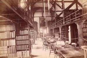 England English Library Interior Old Photo Albumen Print 1900