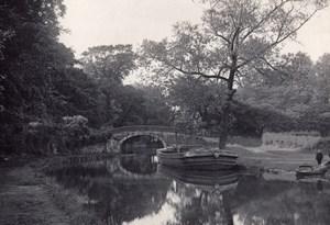 British Countryside Stone Bridge Canal Boats Old Photo 1900