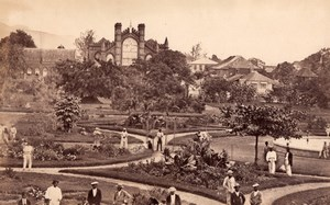 British West Indies or Jamaica? Men in Garden Church? Old Photo 1890