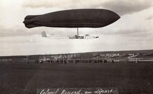 France Aviation Military Airship Colonel Renard Flying Old Photo RPPC 1910