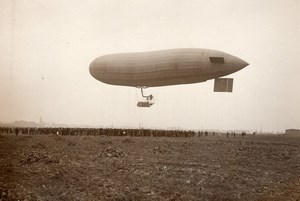 France Aviation Dirigeable Parseval en vol Ancienne Photo 1911