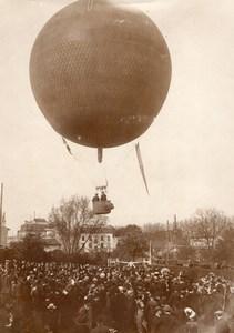 France St Cloud Aviation Capitaine Georges Bellenger en Ballon Ancienne Photo 1911