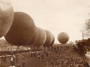 France St Cloud Aviation General View Balloons before start Old Photo 1911