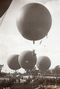 France Aviation Balloons Grand Prix de l'Aero Club Crowd Old Photo 1914
