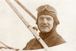France Aviation Aviator Portrait in Airplane Old Photo 1910